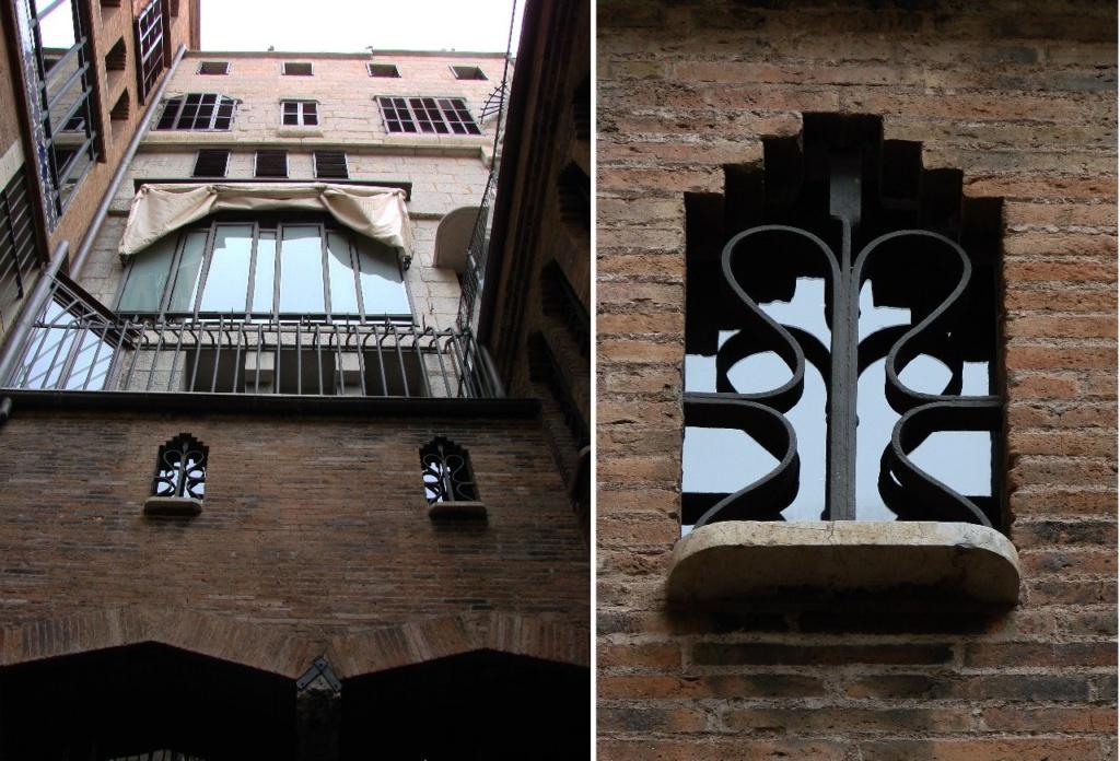 Дворец Гуэля. На фотографии виден дворовый фасад нового городского особняка, соединенного со старой семейной резиденцией крытой узкой галереей. Вид декоративной решетки.