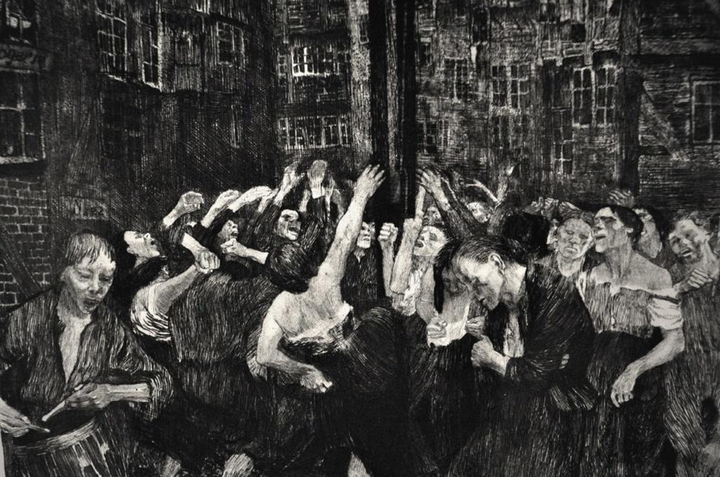 Кете Кольвиц. Лист из графической серии «Восстание ткачей».   1893 - 1897 годы. Тяжелые раздумья превращаются в действие - восстание, возглавляемое женщинами, что могут противопоставить оружейным залпам булыжники из мостовой...