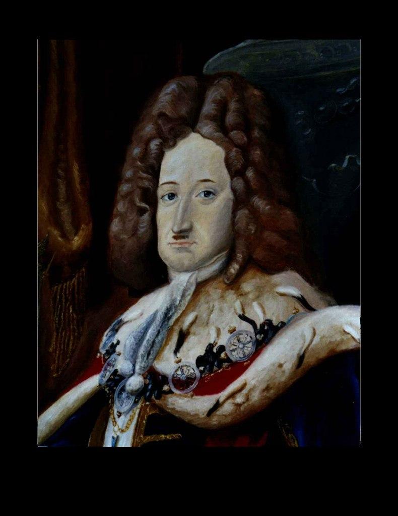 """Фридрих I (1657-1713), курфюрст Бранденбургский с 1688 г., король Пруссии (1701-1713). То - парадный портрет короля в горностаевой мантии с орденской цепью из """"Колес судьбы"""" и черных """"Бранденбургских орлов""""."""