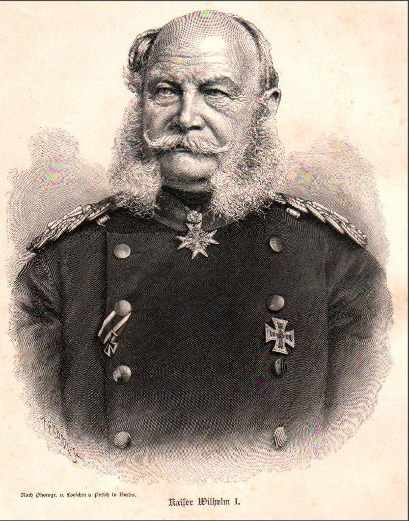 Вильгельм I - 7-ой король Пруссии (1861—1888 годы). Император Германии в 1871—1888 годы. Канцлер Германской империи - Отто фон Бисмарк с 1872 по 1890 г.