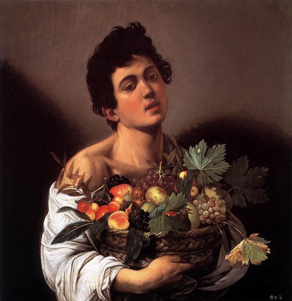 """Караваджо. """"Юноша с корзиной фруктов"""". 1593. То - """"картина для мольберта"""" (небольшая) с тихим сюжетом... Юноша будто загипнотизирован, одурманен, погружен в меланхолию. За его спиной два темных крыла..."""