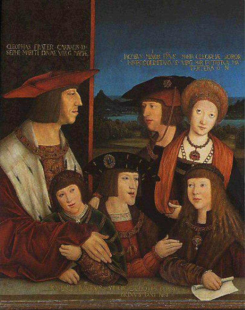 Семейство Габсбургов - император Максимилиан I, его сын Филипп Красивый, невестка Хуана, и внуки - Карл V, Фердинанд и Элеонора Австрийская:
