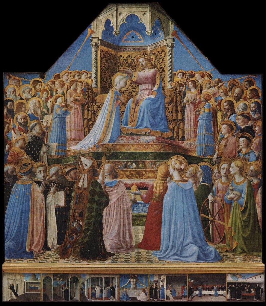 ФРА БЕАТО АНЖЕЛИКО. Алтарь Сан Доменико. «Коронация Богоматери». 1430 - 32. Лувр, Париж. Это одна из наиболее знаменитых работ Фра Анжелико - блестящий пример искусства художника в технике темперы, ее свежие цвета не изменились с течением времени.