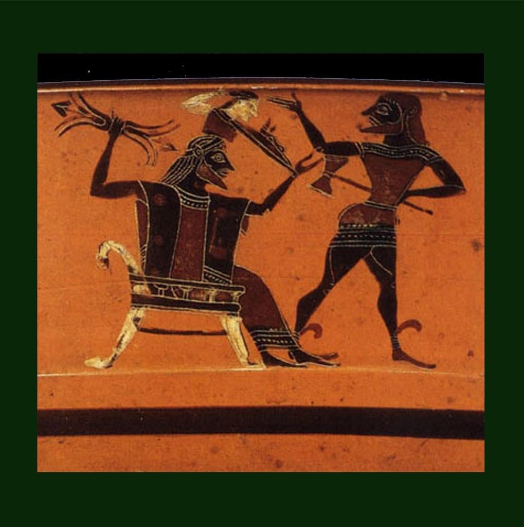 """Античная ваза. """"Рождение Афины из головы Зевса"""""""