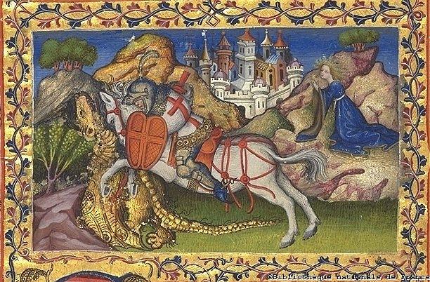 XV век. Иллюстрация из Бревиария Мартина Арагонского. Св. Георгий изображен в плаще крестоносца