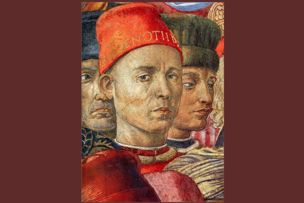 """Автопортрет Гоццоли Беноццо (1420-1497) - итальянский художник, автор многочисленных циклов фресок. Фрагмент фрески """"Шествие волхвов"""" (1459-1460). Капелла дворца Медичи-Риккарди, Флоренция."""