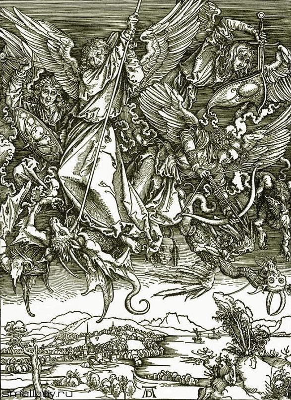 """Гравюры по дереву Альбрехта Дюрера из цикла """"Апокалипсис"""" или """"Откровение святого Иоанна Богослова"""", 1497-1498, галерея Кунстхалле, Карлсруэ. """"Битва архангела Михаила с драконом"""""""