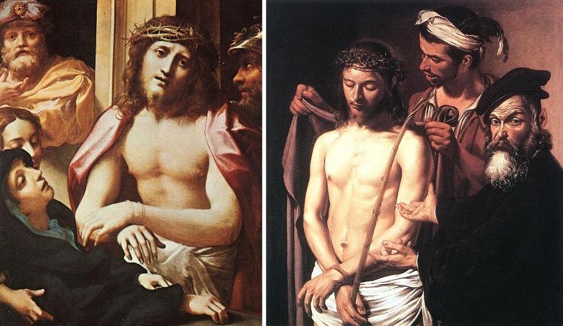 """Антонио да Корреджо. """"Ecce Homo — се, Человек». 1530-е. Микеланджело Меризи де Караваджо. """"Ecce Homo - се, Человек"""". 1605"""