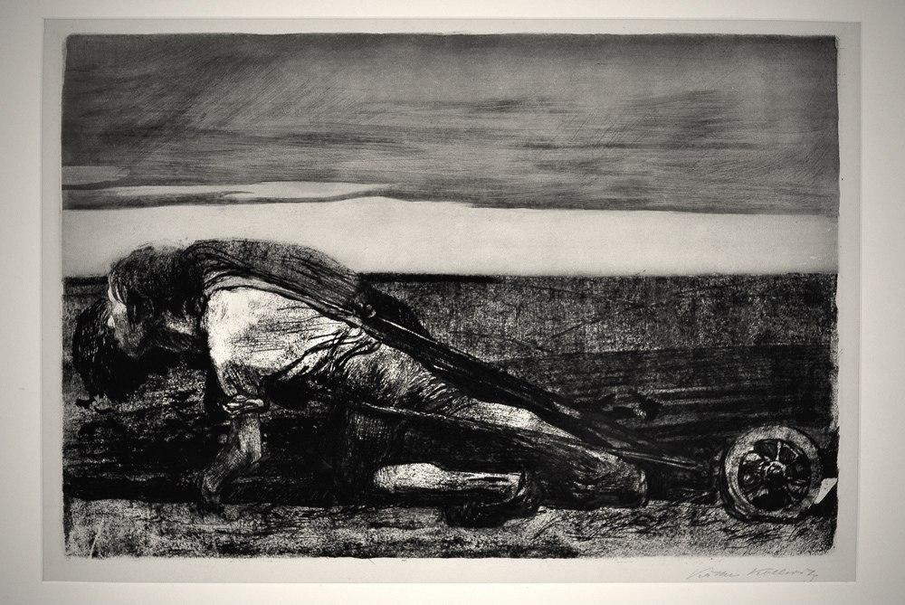 """Кете Кольвиц. Следующее великое произведение художницы - графический цикл «Крестьянская война», 1903 - 1908 год.  Первый лист - """"Пахота""""."""