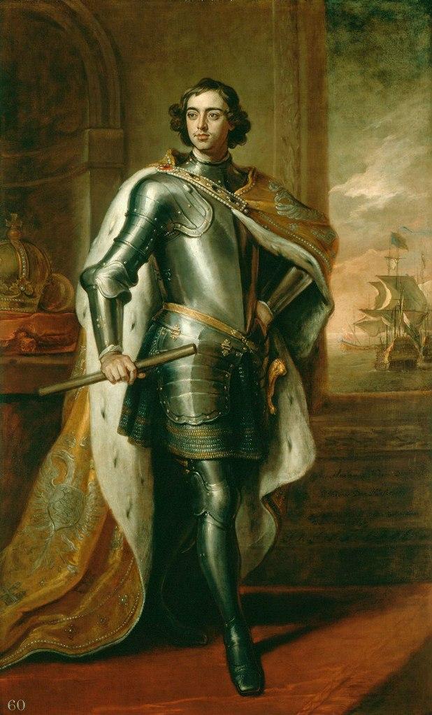 ЛУЧШИЙ ДРУГ ГЕРОЯ, а может быть и единственный. Портрет Российского императора Петра I (1672 - 1725). Худ. Кнеллер. 1698 год (Петру 26 лет).