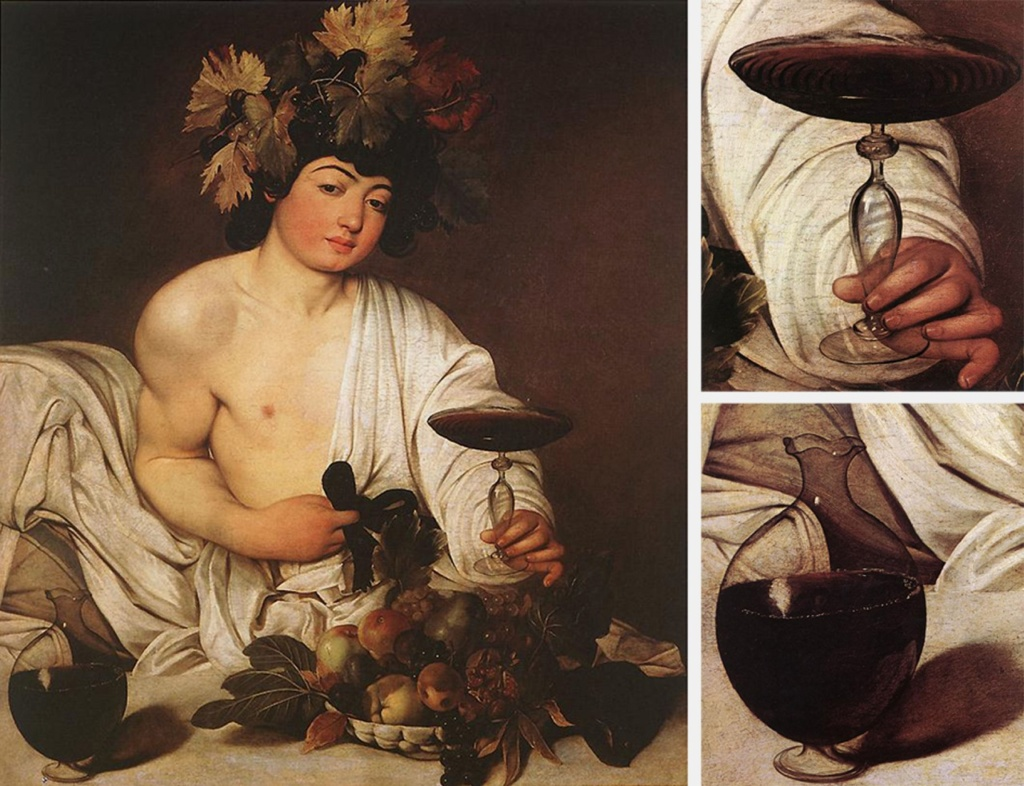 """Караваджо. """"Вакх"""". 1596. Галерея Уффицы, Флоренция. Этот """"Вакх"""" не болен, напротив. Он - Бог, что пребывает. в своем мире, где царит вечный праздник. Не спешите  с выводами: картина полна мистификаций..."""