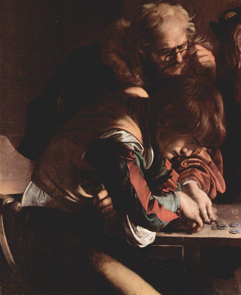 """Караваджо. """"Призвание апостола Матфея"""". 1599 - 1600. Фрагмент: два мытаря, сидящих в противоположном от Христа торце стола, не видят или не хотят Его видеть..."""