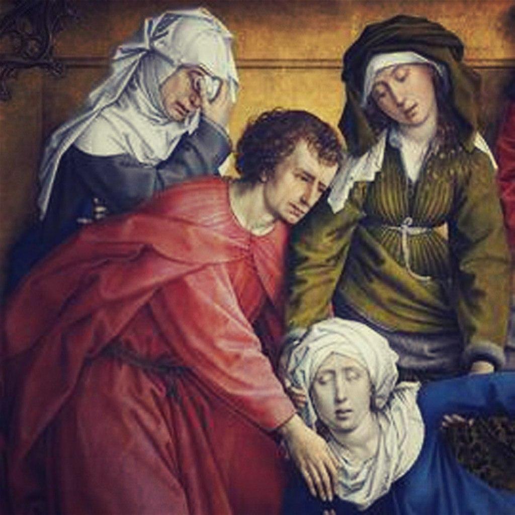 """Рогир ван дер Вейден. """"Снятие с креста""""Ранее 1443, Музей Прадо, Мадрид. Рядом с женами-мироносицами стоит апостол Иоанн, которому Иисус перед распятием поручил заботу о своей матери."""
