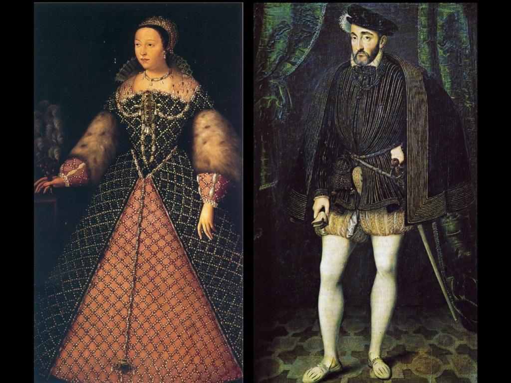 Екатерина Медичи (1519 -1589), королева и регентша Франции (1560-1563 и 1574). Генрих II, король Франции из Ангулемской линии династии Валуа, правивший с 1547 года по 1559. Умер от раны, полученной на турнире.