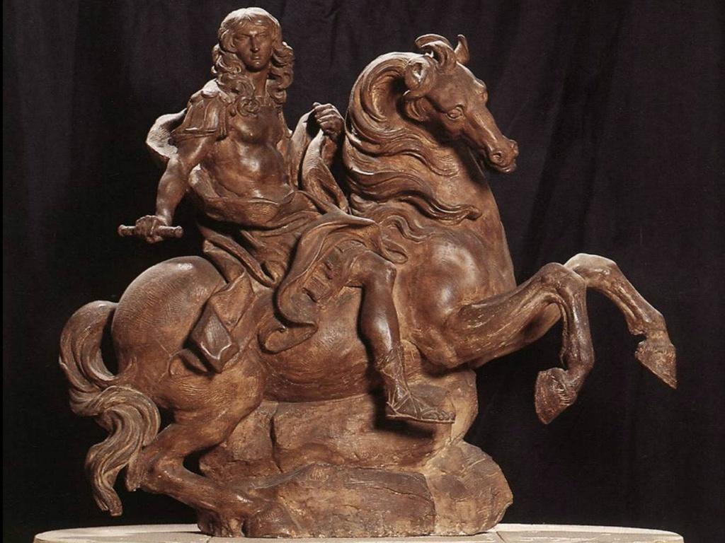 Терракотовая конная статуя короля Людовика XIV. 1669-1670. Галерея Боргезе (Рим, Италия).