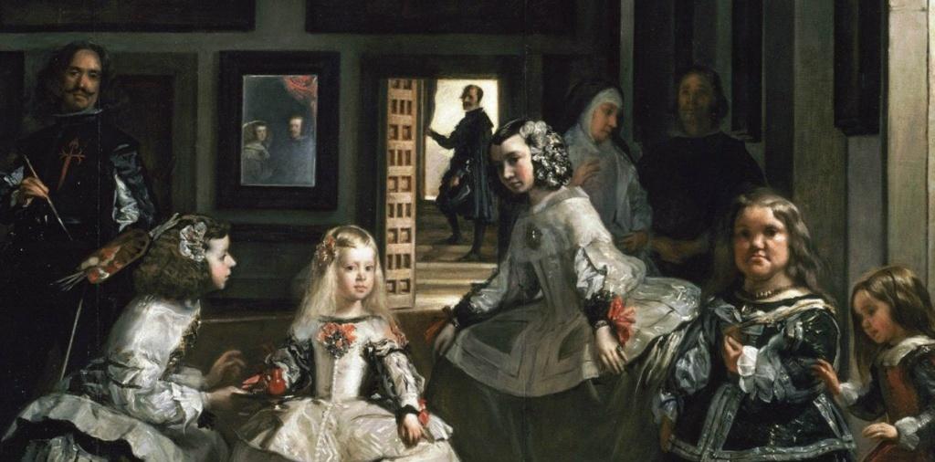 """Диего Веласкес. """"Менины"""" (Фрейлины), 1656. Прадо, Мадрид. Фрагмент, показывающий, как нарушаются законы построения глубинной перспективы, которыми Веласкес владеет в полном совершенстве. Я вижу три круга: светлый, теневой, мистический..."""