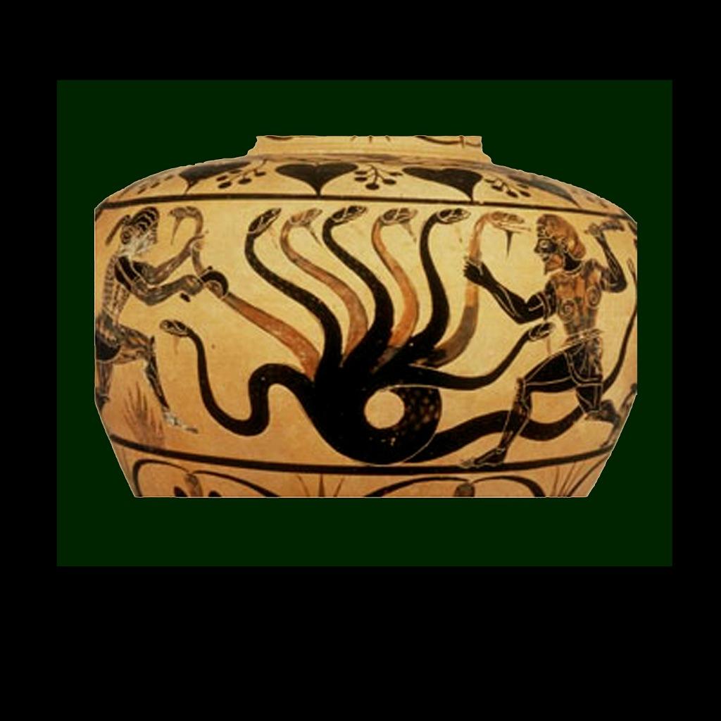 """Античная ваза. Сюжет - """"Геракл и Лернейская гидра"""""""