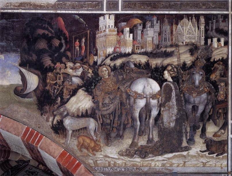 """XV ВЕК. Верона. Часовня Пеллегрини, церковь Санта Анастасия. """"Святой Георгий и принцесса"""" (правая сторона). Фреска Антонио Пизанелло. 1436-38 годы."""