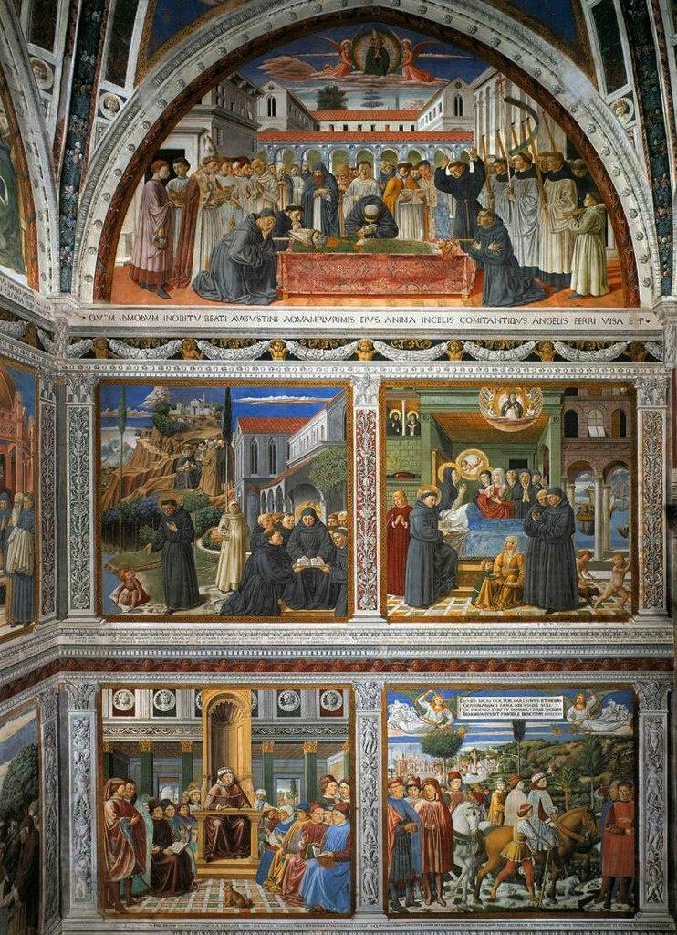 Сан-Джиминьяно, церковь Сант-Агостино. Гоццоли Беноццо. Цикл фресок «Жизнь святого Августина» (1464-1465). Южная стена.