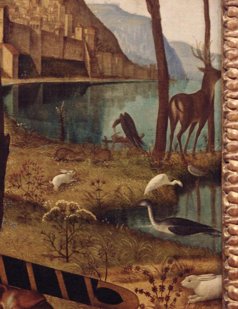 """Витторе Карпаччо. """"Портрет молодого рыцаря..."""" Фрагмент пейзажа первого плана с правой стороны от рыцаря, стоящего в центре."""