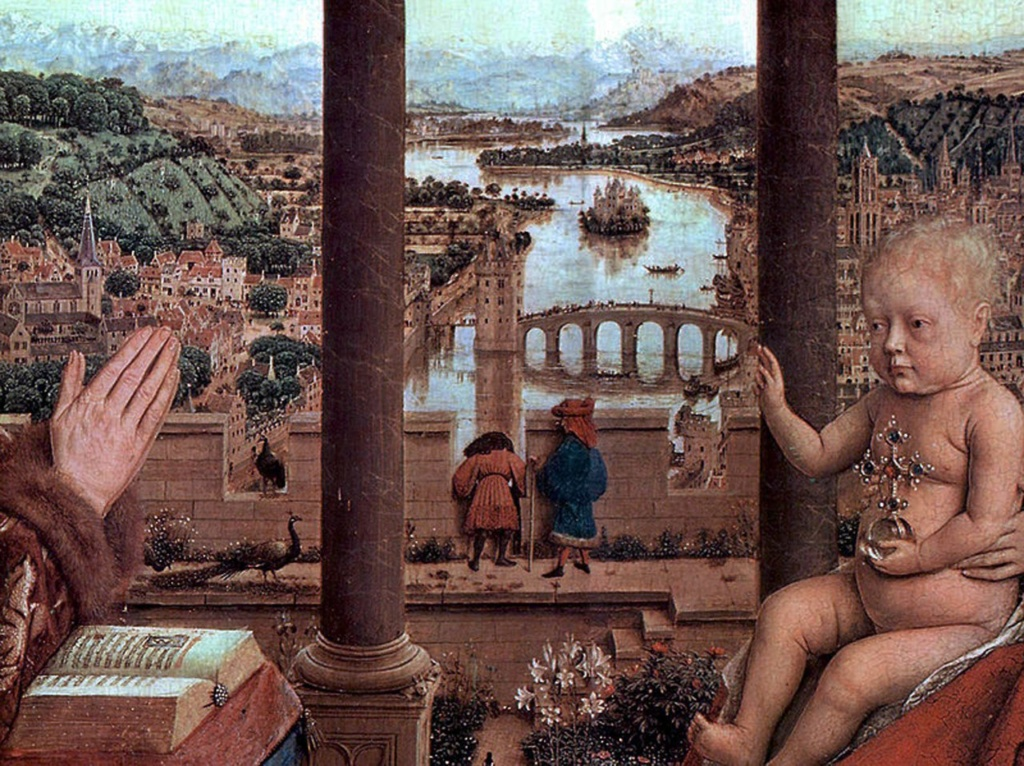 Ян ван Эйк. «Богоматерь канцлера Ролена». Около 1436 года. Лувр, Париж.
