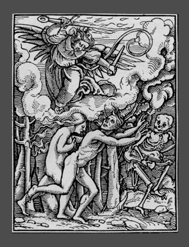 """Ганс Гольбейн Младший. """"Пляска Смерти"""". 1526 год - создание. 1538 - публикация. """"Изгнание Адама и Евы из Рая"""" за первородный грех."""