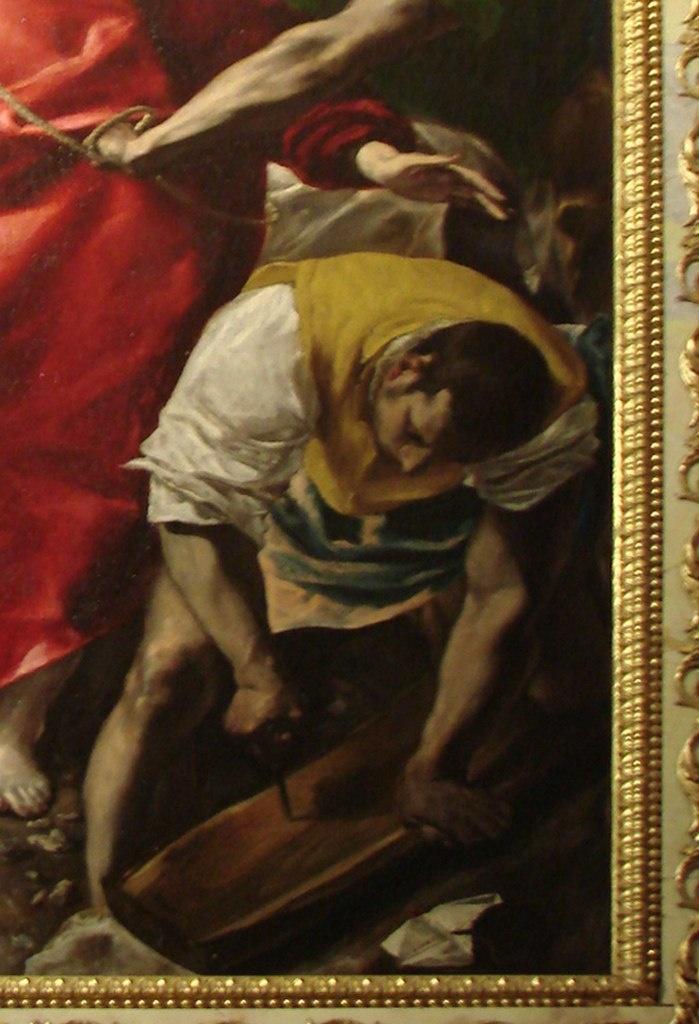 Толедский собор. Ризница. Эль Греко. «Эсполио» («Снятие одежд с Христа»). 1579 год. В правом нижнем углу трем Мариям противостоит сильная фигура солдата, который с полным безразличием к предстоящему готовит крест для распятия.