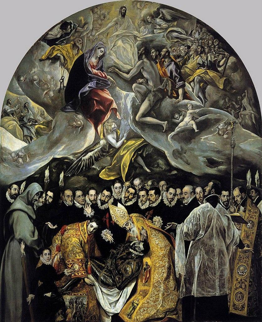 Эль Греко. «Погребение графа Оргаса». 1586 - 1588 годы. Картина сразу же стала объектом паломничества, причем не только представителей местной знати, изображенных на картине, но и приезжих со всей Испании…