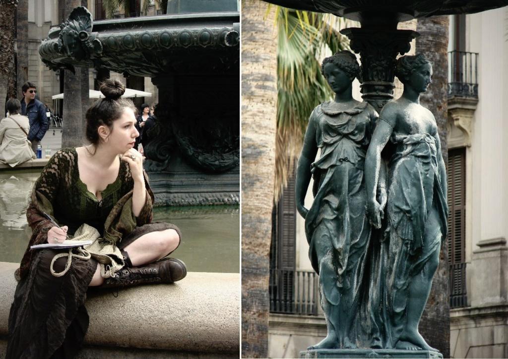 """Барселона. Королевская площадь. В центре площади - фонтан """"Три грации"""", выполненный в 1853 году по проекту архитектора Ф.Д. Молины в традиционно-испанском романтическом стиле..."""