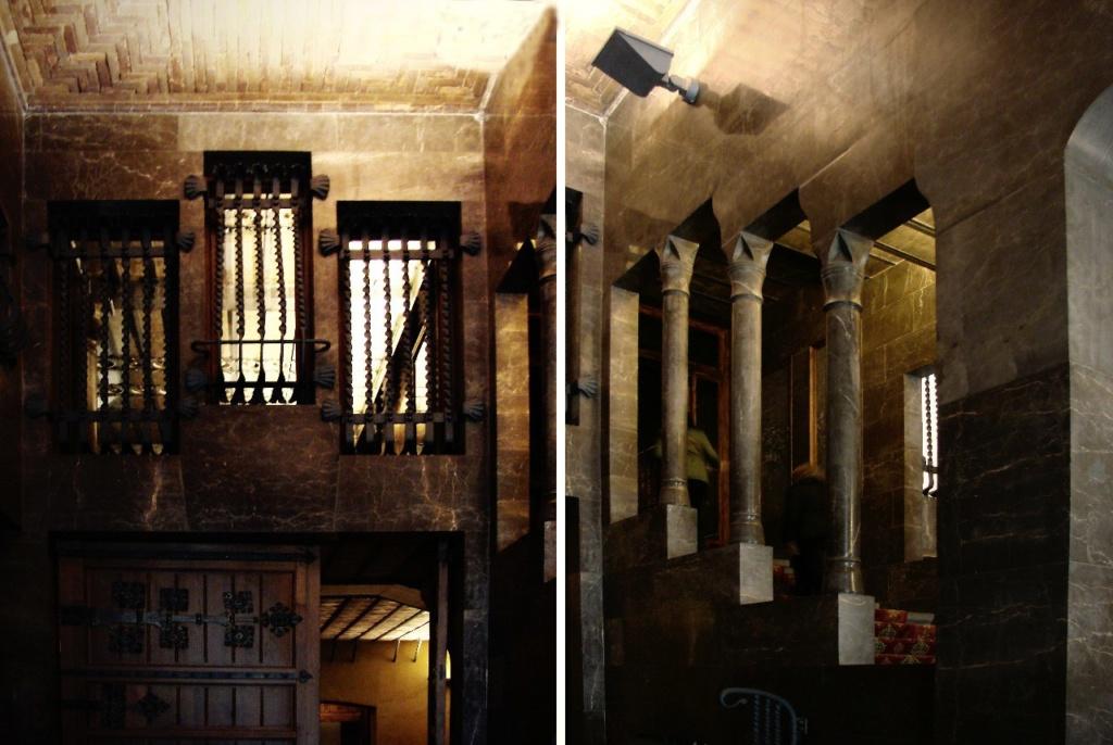 Дворец Гуэля. Вестибюльная группа Дворца. Примеры конструктивно-декоративных решений интерьера.