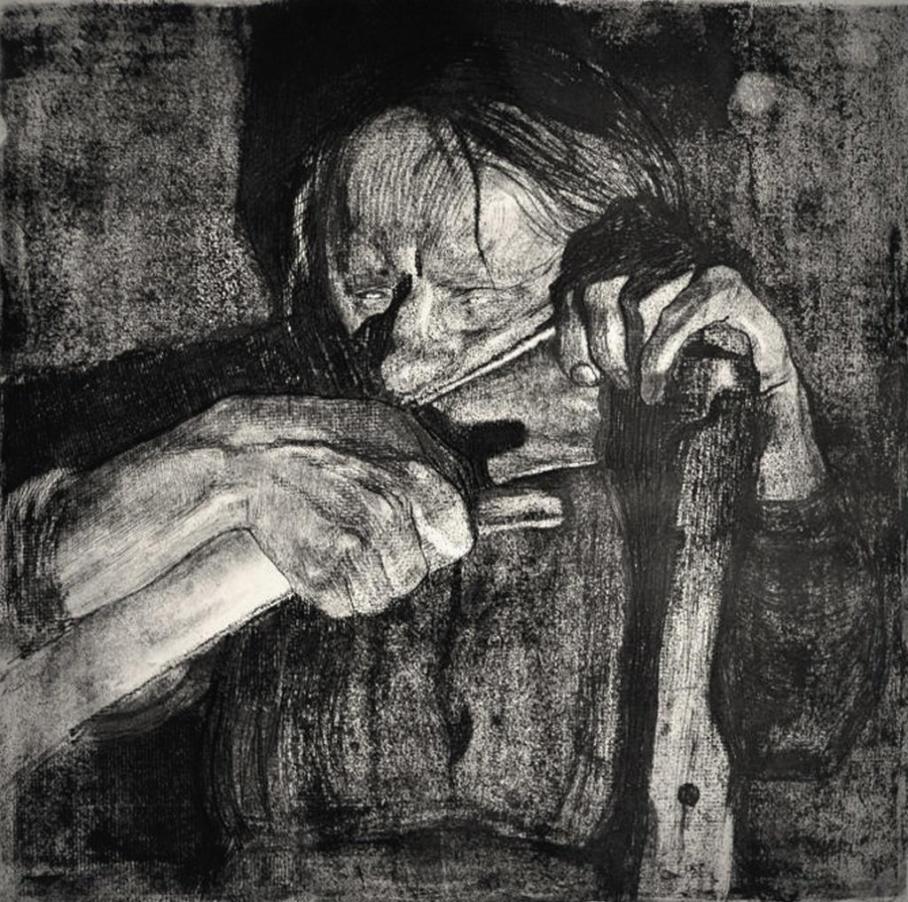 """Кете Кольвиц. «Крестьянская война», 1903 - 1908 годы.  """"Заточка косы"""" (рождающая мысль о мести)."""