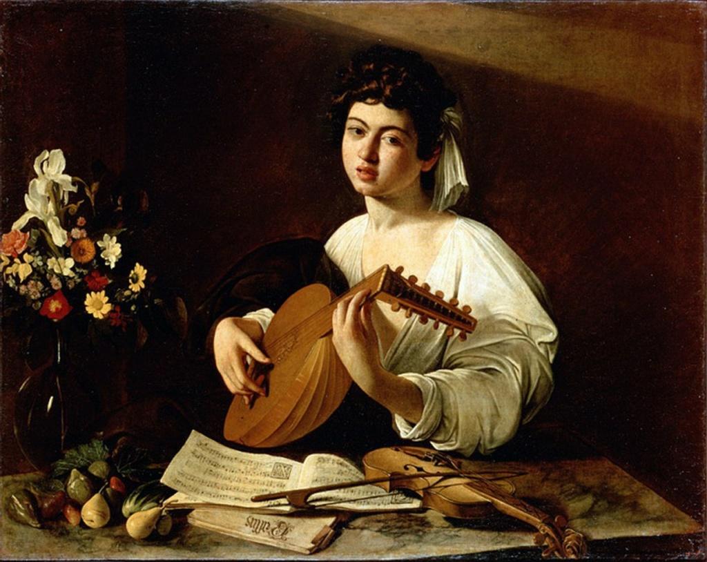 """Караваджо.""""Лютнист"""". 1595. Эрмитаж. Санкт-Петербург. Биограф художника Бальоне сказал об этой картине,  что «юноша кажется живым и настоящим»."""