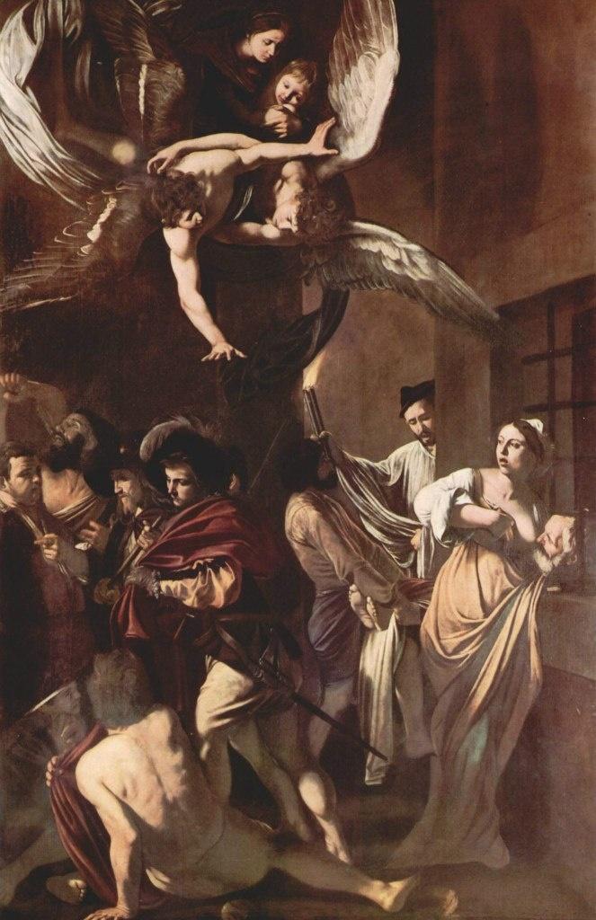 """Караваджо. «Семь деяний милосердия"""". 1606-1607. Сверху Мадонна с Младенцем, поддерживаемые двумя Ангелами, взирают с Неба на происходящее на земле. Внизу представлены Семь благодеяний, которые совершают лучшие из людей..."""