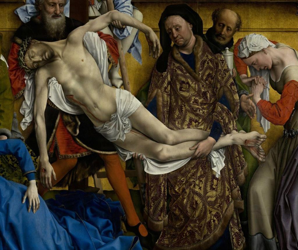 """Рогир ван дер Вейден. """"Снятие с креста""""Ранее 1443, Музей Прадо. В правой группе стоят Иосиф Аримафейский, в роскошном одеянии Никодим, Миро и сломленная горем Магдалина."""