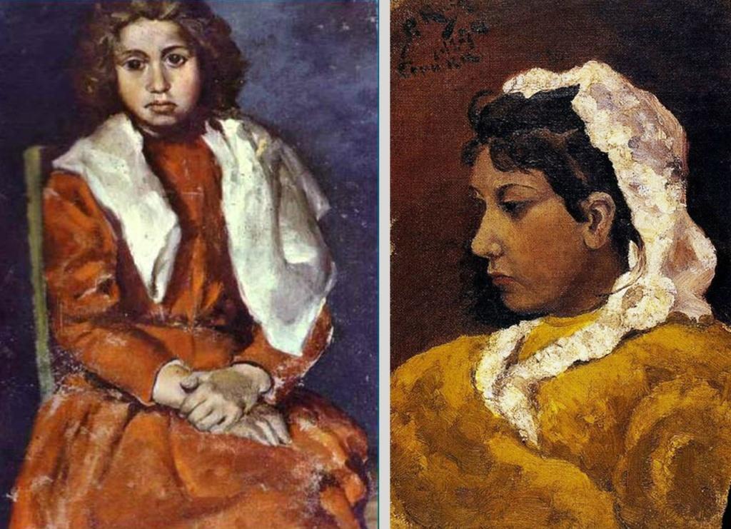 """Пабло Пикассо. """"Босоногая девочка. Фрагмент"""". 1895. Пабло Пикассо. """"Лола Пикассо, сестра художника"""". 1894. Портретная живопись художника-подростка, изображающего между делом своих сверстниц."""