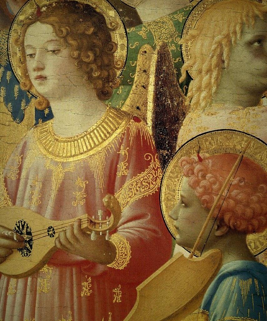 ФРА БЕАТО АНЖЕЛИКО. Алтарь Сан Доменико. «Коронация Богоматери». 1430 - 1432. Фрагмент с музицирующими Ангелами.