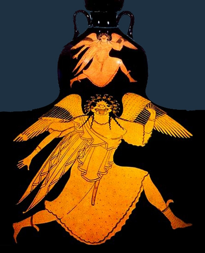 "Античная ваза. ""Убегающая Медуза горгона"""