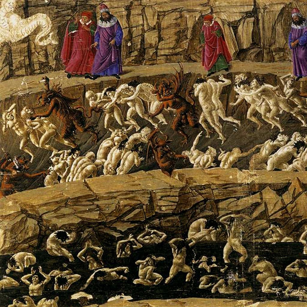 """Сандро Ботичелли - иллюстрация к """"Божественной комедии"""". 1490 год. Ад. Песня восемнадцатая, в которой описываются """"Злые щели"""" - самое зловонное место в Преисподней, куда попадают за богохульство."""