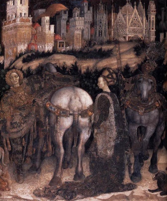 """XV ВЕК. Верона. Часовня Пеллегрини, церковь Санта Анастасия. """"Святой Георгий и принцесса"""" (фрагмент). Фреска Антонио Пизанелло. 1436-38 годы."""