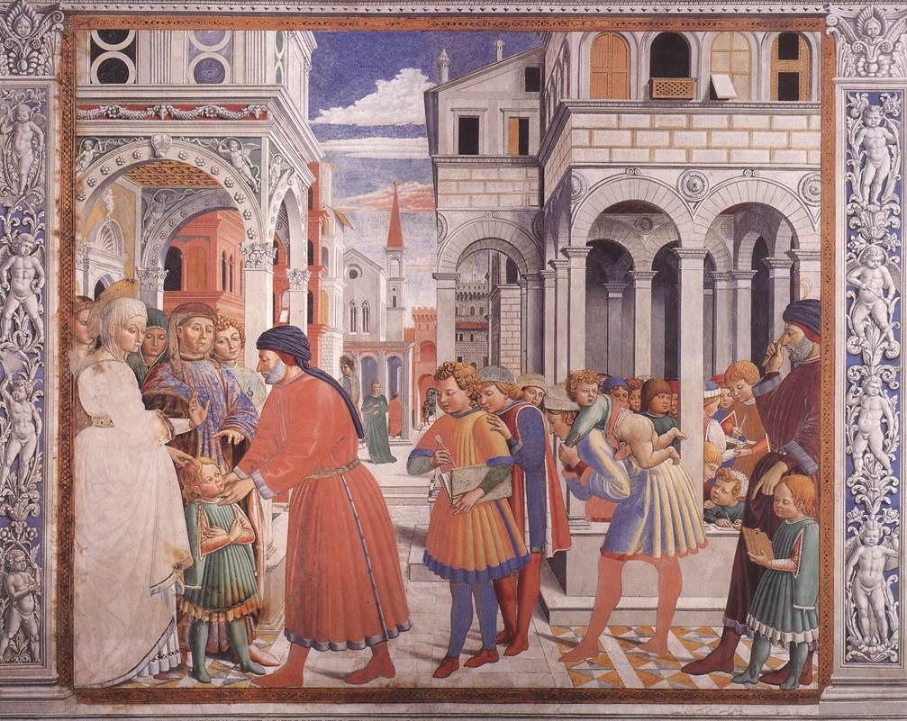 Сан-Джиминьяно, церковь Сант-Агостино. Гоццоли Беноццо. Цикл фресок «Жизнь святого Августина» (1464-1465). Школа в Тагасте (сцена 1, северная стена).