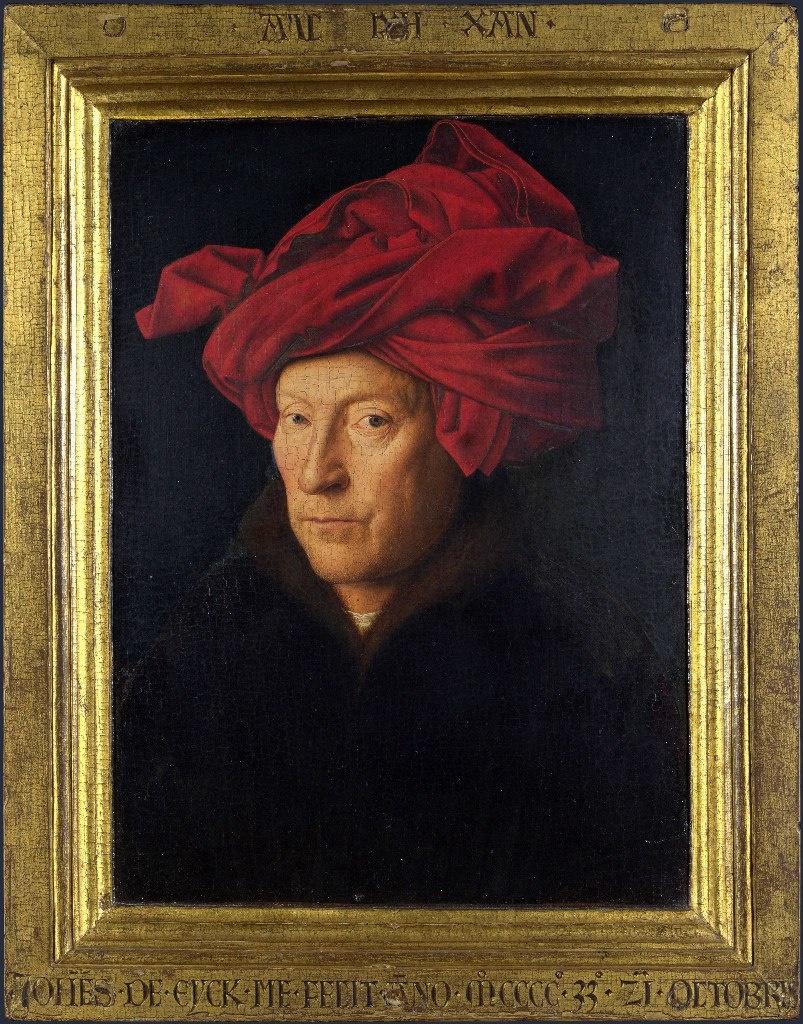 """Ян ван Эйк - «Портрет человека в красном тюрбане», 1433. Национальная галерея, Лондон. Существует предположение, что это """"Автопортрет"""" художника.."""
