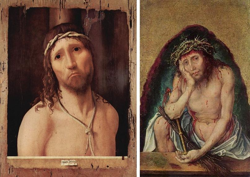 "Антонелло де Мессина. ""Муж скорбей"". 1476. Альбрехт Дюрер. ""Муж скорбей"". 1490-1492"