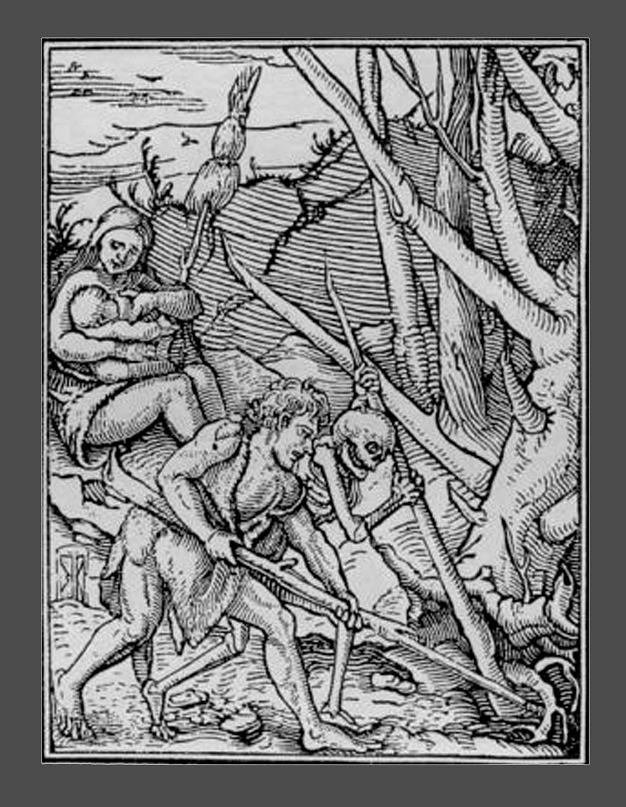 """Ганс Гольбейн Младший. """"Пляска Смерти"""". 1526 год - создание. 1538 - публикация. """"Адам и Ева за вратами Рая""""."""