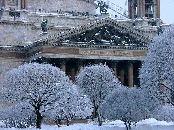 Исаакиевский собор. Арх. О. Монферран. 1818-1858. Вид со стороны Исаакиевской площади.