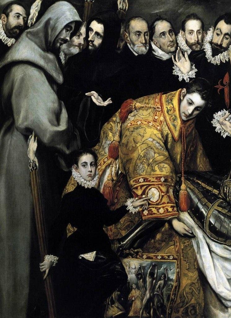 Эль Греко. «Погребение графа Оргаса». 1586 - 1588 годы. Фрагмент: святой Эстебан (Стефан) и мальчик с факелом - сын художника. Из кармана сына выглядывает носовой платок, на котором нанесена дата его рождения - 1578 г., и подпись художника.