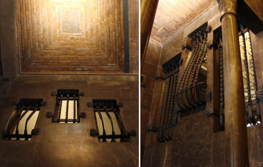 Дворец Гуэля. Вестибюльная группа Дворца. Примеры конструктивно-декоративных решений интерьера. Плоские византийские своды. Стоечно-балочная система. Выгнутые ажурные решетки из кованого железа на окнах.
