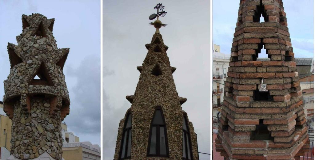 Есть на крыше еще одна башенка - парафраз куполу и по форме,  и по облицовке битым песчаником. Многие башенки ничем не облицованы, оставлены в кирпиче - материале, из коего сложены. Ничего не могу с собой поделать - смотрю на флюгер, ужасаясь...