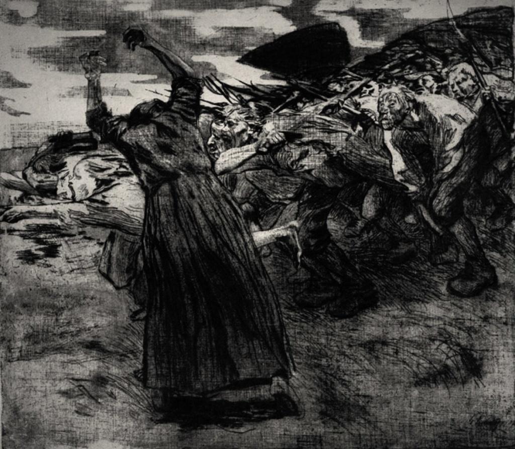 """Кете Кольвиц. «Крестьянская война», 1903 - 1908 год. """"Восстание""""."""