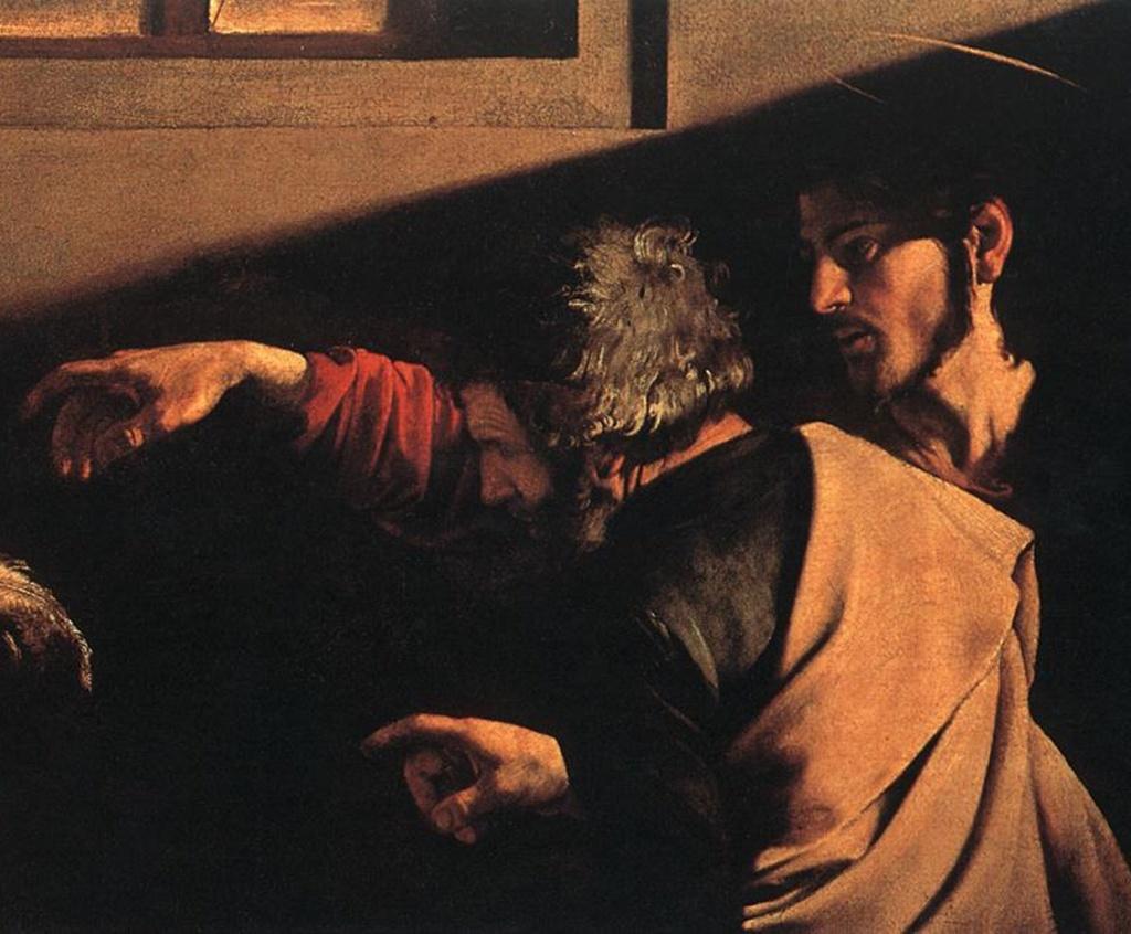 """Караваджо. """"Призвание апостола Матфея"""". Фрагмент; Христос и апостол Петр...."""