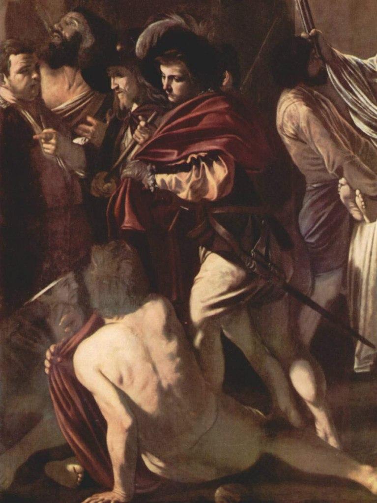 """Караваджо. """"Семь деяний милосердия"""". Фрагмент, в котором показаны оставшиеся добродетели. Причем нижний угол картины (нищий на костылях) плохо виден, так как в спешке художник не давал полотнам просохнуть."""